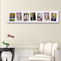 Decorative White Wood Wall Hanging Picture Photo Frame - Tilted