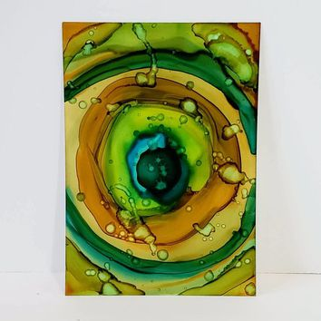 Alcohol Ink on Yupo Paper.  Beautiful Abstract Wall Art that is Green, 5x7 Size. Ink Painting, Yupo Paper Art.