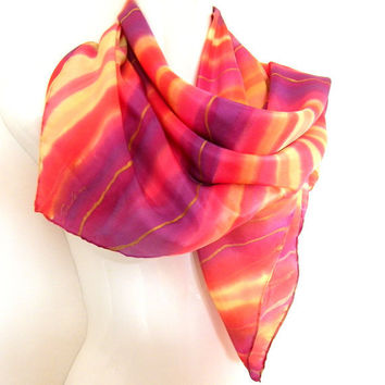 Hand Painted Silk Scarf Square Purple Red Orange Gold Stripes SALE