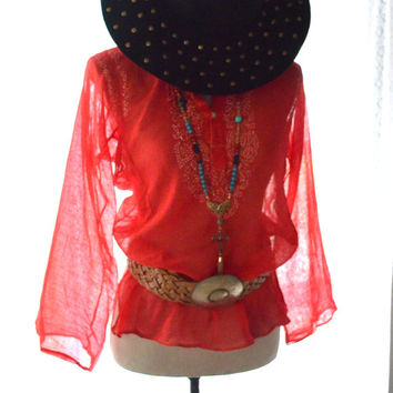 Coachella Festival top, Hippie chic mexicali vintage blouse, Mexican party top, Bohemian music festival clothing, true rebel clothing Sm med