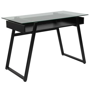 Huntley Computer Desk with Shelf and Black Metal Legs