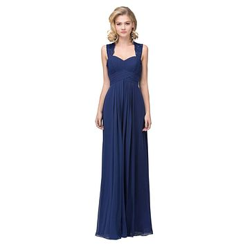 Starbox USA Navy Long Bridesmaids Dress Cut Out Back Empire Waist