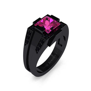 Mens Modern 14k Black Gold 2.0 Carat Princess Pink Sapphire Black Diamond Wedding Ring R1020M-14KBGBDPS