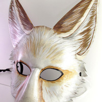 Leather Fennec Fox Mask with Light Coloration Theme