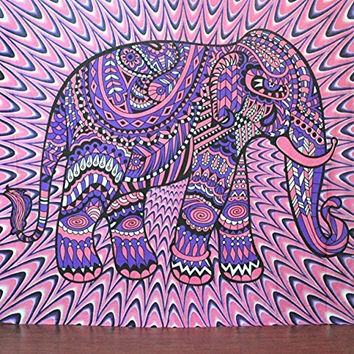 Jaipurhandloom Christmas Gift Indian Elephant Tapestry Mandala Tapestry Hippie Hippy Wall Hanging Throw Bedspread Dorm Tapestry Decorative Wall Hanging , Picnic Beach Sheet Coverlet
