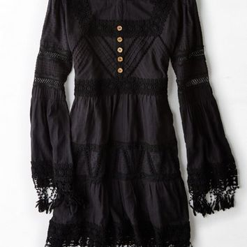 AEO Women's Artisan De Luxe Fringe Dress (Black)