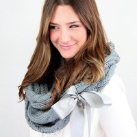 chunky knit light gray infinity scarf with large satin bow cuff, gray cable knit