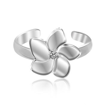Sterling Silver Rhodium Plated White Cubic Zirconia Floral Toe Ring