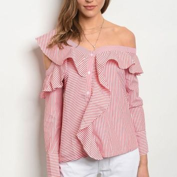 Off Shoulder Red/White Button Up Top