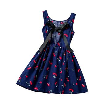 New Little Girl Baby Print Leisure Summer Dress 2017 Princess Girl Birthday Party Clothes Beach Style Sundress For Kids Clothing