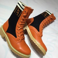 FENDI Stretch Knit Leather Boots