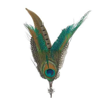 Pheasant & Peacock Hat Pin & Feathers with Edelweiss Medallion