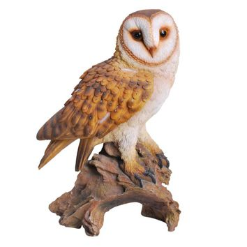 Realistic Looking Barn Owl Perched On Stump Statue Gallery Quality Detailed Sculpture Amazing Likeness Life Size Scale Resin Sculpture Hand Painted Statue Indoor Outdoor Decor