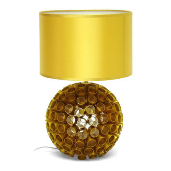 Retro, Round-Metal-Honeycomb Base Table Lamp with Golden Shade