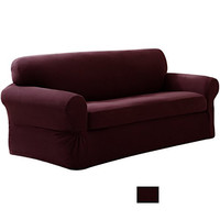 Mk Collection Slipcover Stretch for Fit Couch/sofa Love Seat Chair Cover (sofa+love seat+ chair, Burgundy)