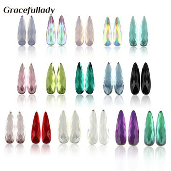 Nail Art Rhinestones 20Pcs/Pack Flat Shapes Elongated Teardrop Rectangle Glass Flame Colorful Stones For 3D Nails Decoration