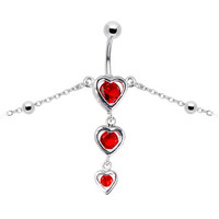 Ruby Red Gem Sweetheart Belly Chain | Body Candy Body Jewelry