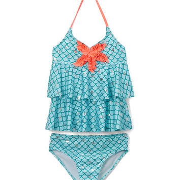 Blue Mermaid Ruffle Tankini - Girls