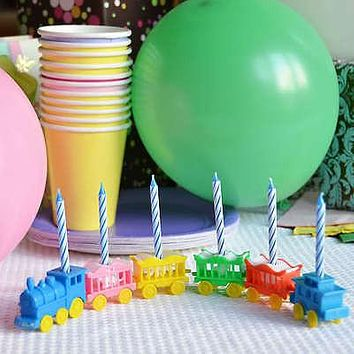 Vintage Animal Train Candleholder Set Cake Topper Birthday Shower Blue Candles