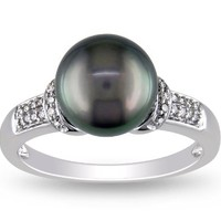 14k White Gold 8.5-9.0mm Tahitian Pearl Ring, (0.08 Cttw, G-H Color, I1-I2 Clarity), Size 8
