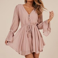White Lace Sexy V Neck Rompers Women See Through Polka Dot Lace Up Beach Playsuits Long Sleeve Party Beach Romper
