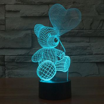 Teddy Bear Pattern Colorful 3D LED Lamp