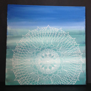 Mandala Blues Art Canvas. Hand- painted white mandala on natural blues- Sacred geometry-unique design-Home Decor-Christmas gift