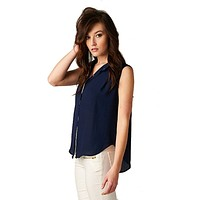 Sleeveless High Low Button Down Blouse (Navy)