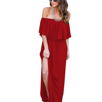 Ruffle Off Shoulder Long Maxi Dress