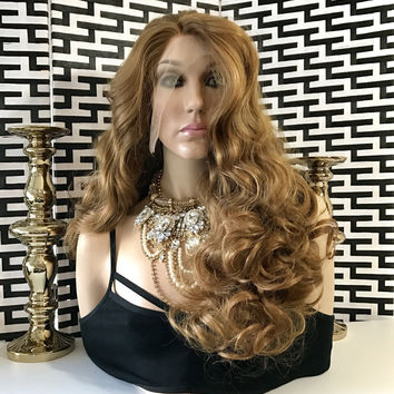"Diane Dark Blonde EXTRA FULL Thick Hair SWISS Lace Front Wig 22"" 111"