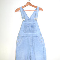 Denim Short Overalls Cutoff Bib Overalls Jeans Overalls Denim Shorts Overalls Grunge Faded Light Blue Denim Bib Overalls