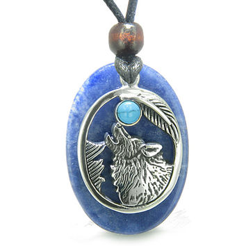 Amulet Courage Howling Wolf Moon Charm in Sodalite Simulated Turquoise Eye Pendant Necklace