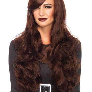 CREYI7E Long wavy  wig with adjustable strap in BROWN