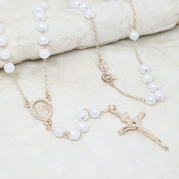 """1-3312-h1 Gold Filled Pearl Rosary Necklace. Guadalupe, 24"""", 5mm."""