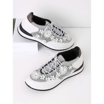 Flower Embellished Lace Up Sneakers