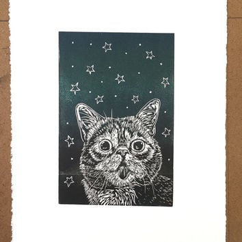 Mother's Day gift idea - one of a kind linocut print of IG star iamlilbub - lil bub the cat - perfect present for cat lover - cat art