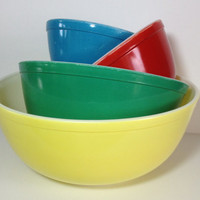 Pyrex Primary Color Mixing Bowl Set # 401 402 403 404 Primary Color Nesting Bowls Blue Red Green Yellow