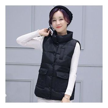 Winter Waistcoat Vest Thick Down Coat Woman Short   black