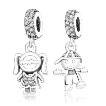 Fits Original Pandora Charms Bracelet 925 Sterling Silver Boy Girl Charm Bead Pendant DIY Jewelry Findings  New Design Berloque
