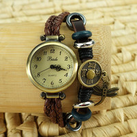 Handmade Ethnic Beaded Bracelet Watch with Ancient Coin and Dragonfly Pendants