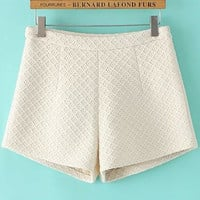 Beige Diamond Pattern High Waist Mini Shorts