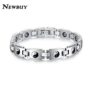 NEWBUY 2016 Hot Sale Fashion Health Bracelets For Men Jewelry Wholesale Stainless Steel Watch Bracelet Jewelry With Magnetic