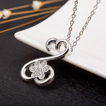 Teamer  New Fashion Dog Footprints With Crystal Choker Necklace Paw Pendant Jewelry For Women And Girl As Birthday Gifts
