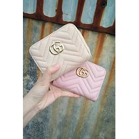 GUCCI hot casual small purse fashionable solid color double G zigzag jewelry bag Apricot