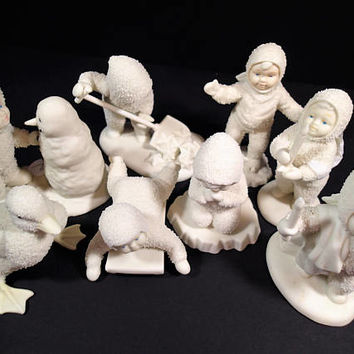 Snowbabies Department 56 retired discontinued figurines Babies in the snow, white porcelain bisque