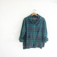 20% OFF SALE Vintage green Plaid Flannel hoodie / Grunge Shirt jacket / Thick cotton button up shirt coat