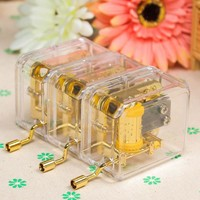 High Quality 1pc Hand Acrylic Music Box 10 Songs Hand Crank Acrylic Music Box For Kids Girls Child Christmas Birthday Gift