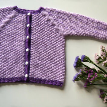 Purple baby sweater, knit baby sweater, purple sweater