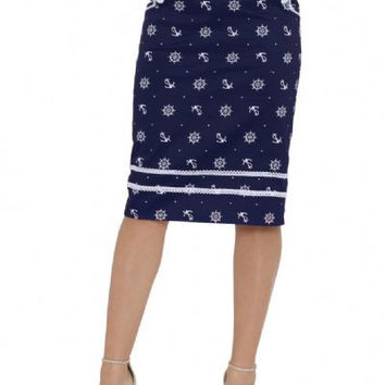 Wheel and Anchor Navy Pencil Skirt