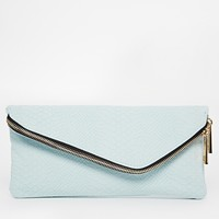 River Island Blue Aysymmetric Clutch Bag at asos.com